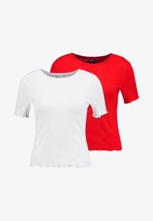 PETRONELLA 2 PACK - Basic T-shirt - red bright/white