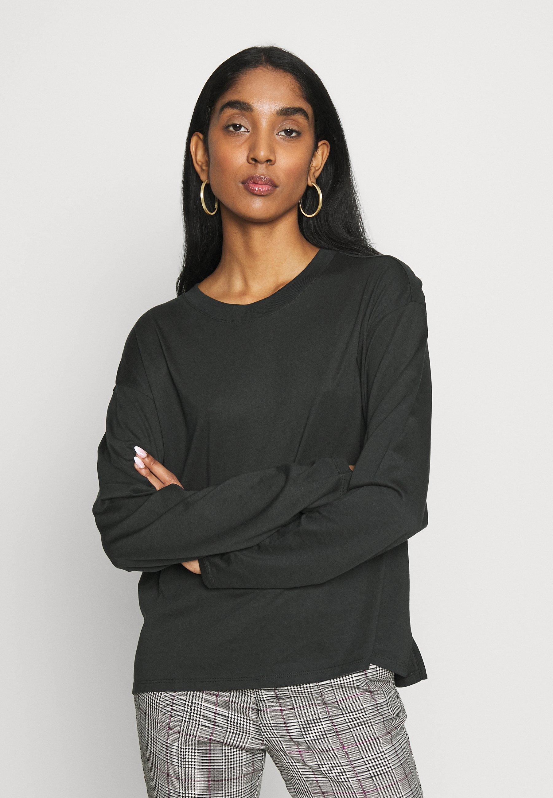 Monki MAJA - Bluzka z długim rękawem - white/bigstraight