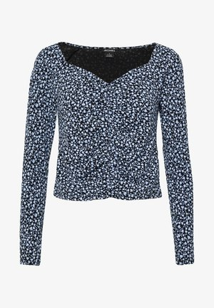 MONIKA TOP - Topper langermet - black littlefloral.blue