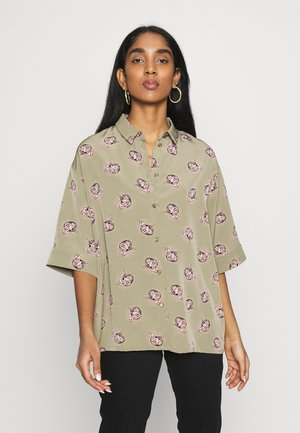 TAMRA BLOUSE - Button-down blouse - khaki/print catty