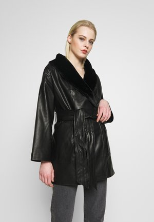 ILMA JACKET - Faux leather jacket - black dark