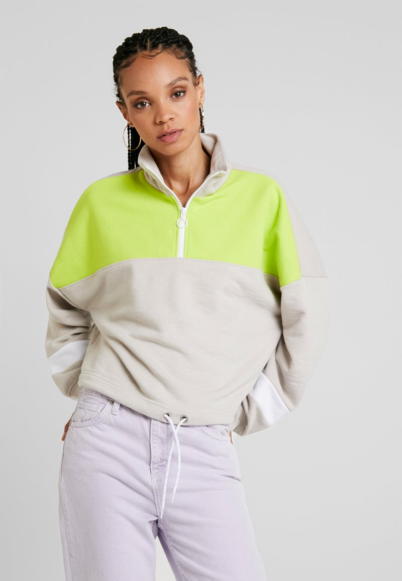 Monki - BIM ZIP - Sweatshirt - beige/white/lime