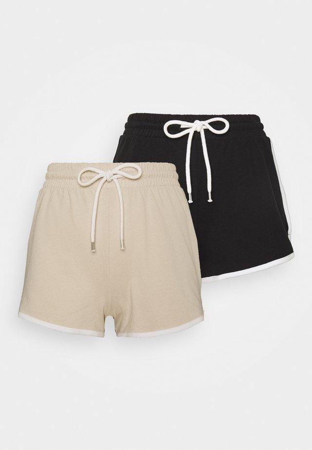 STINA 2 PACK - Shorts - beige/black