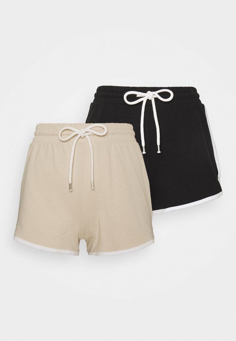 Monki - STINA 2 PACK - Teplákové kalhoty - beige/black