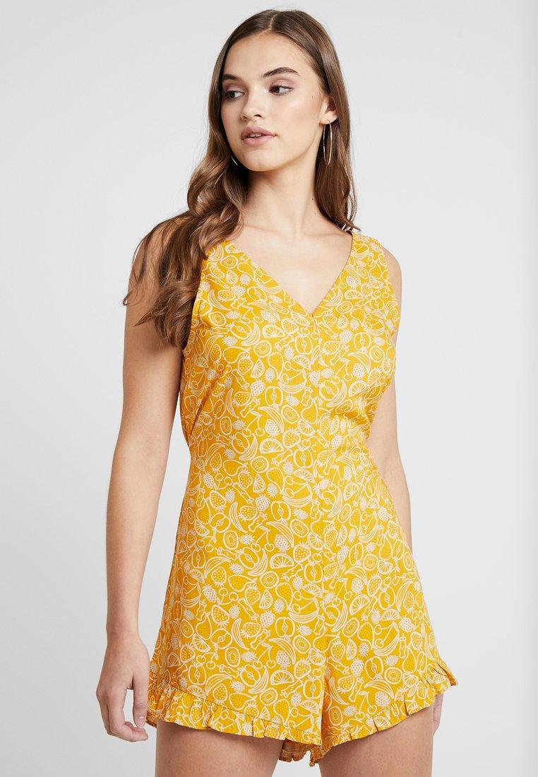Monki - SELINN PLAYSUIT - Jumpsuit - yellow/white