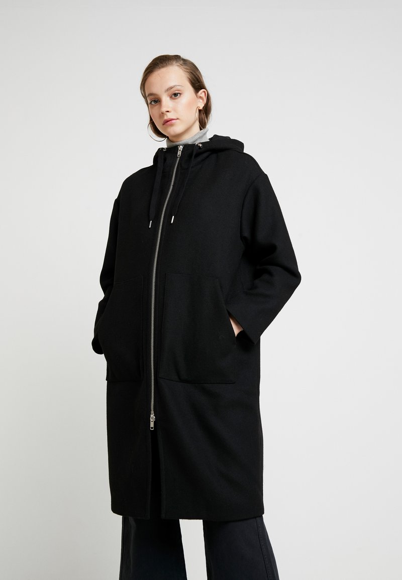 Monki - LEMON HOODED COAT - Abrigo - black dark