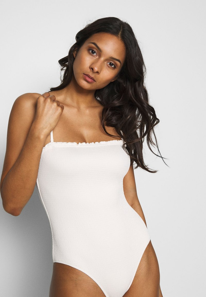 Monki - PAULINE SWIMSUIT - Badeanzug - white light
