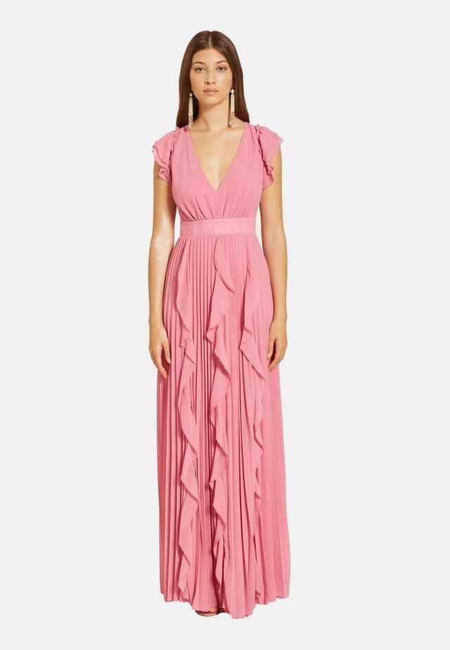 LUNGO PLISSÉ CON VOLANT - Vestito lungo - rosa