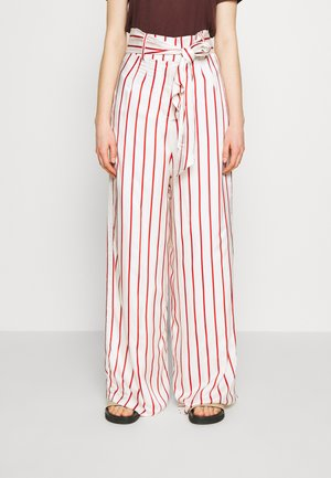 WIDE LEG TROUSER WITH TIE BELT - Stoffhose - red