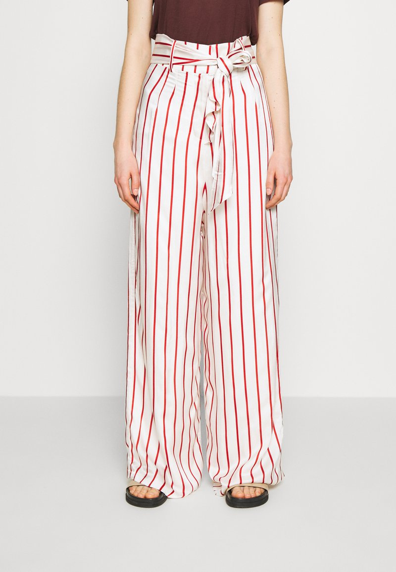 Mother of Pearl - WIDE LEG TROUSER WITH TIE BELT - Stoffhose - red