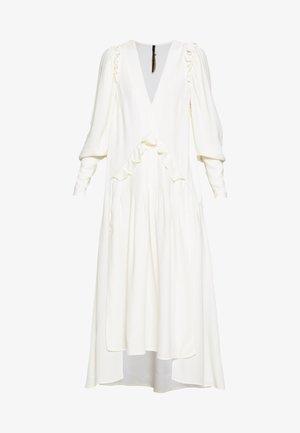 PUFF SLEEVE V-NECK DRESS - Vestido largo - ivory