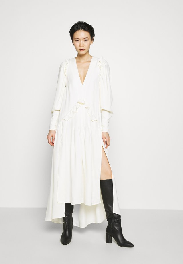 PUFF SLEEVE V-NECK DRESS - Maxi-jurk - ivory