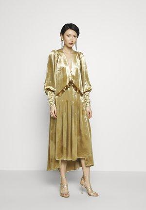 PUFF SLEEVE V-NECK DRESS - Cocktail dress / Party dress - gold