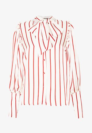 BLOUSE WITH PUFF SLEEVE AND NECK TIE - Blusa - red stripe