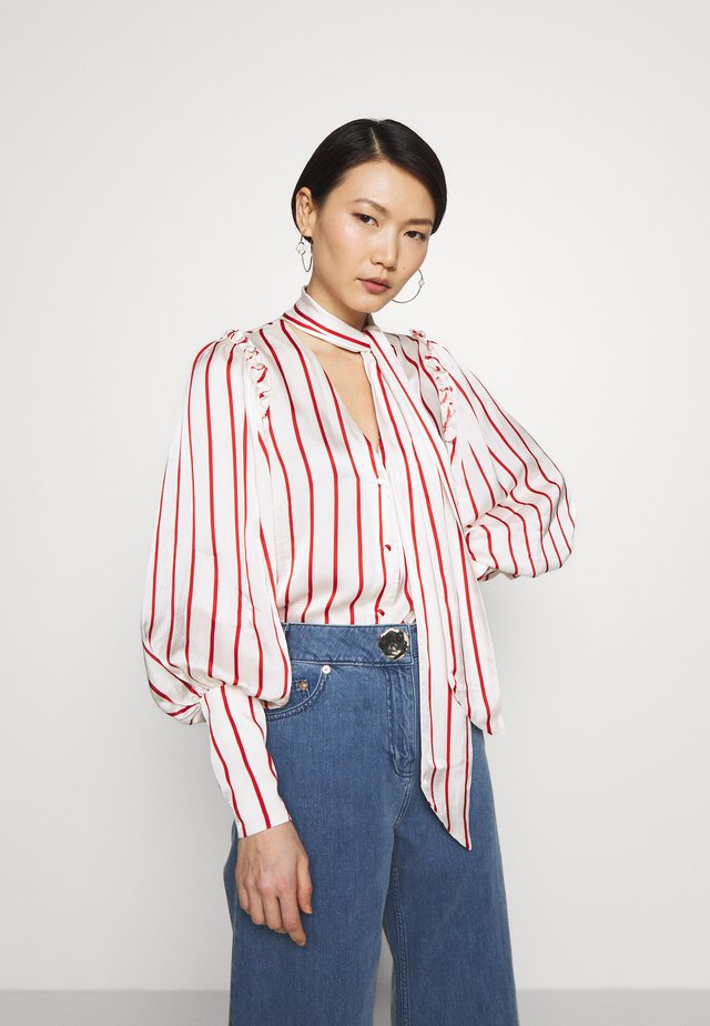 BLOUSE WITH PUFF SLEEVE AND NECK TIE - Bluser - red stripe