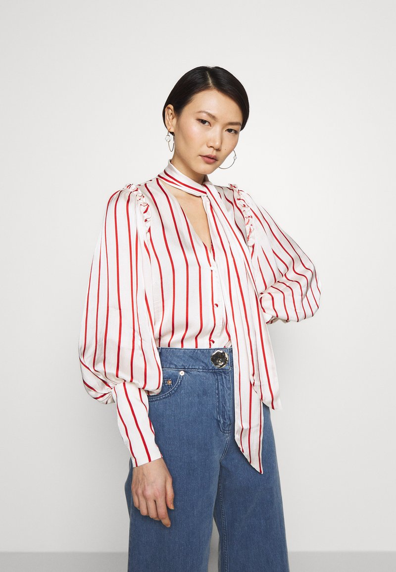 Mother of Pearl - BLOUSE WITH PUFF SLEEVE AND NECK TIE - Bluse - red stripe