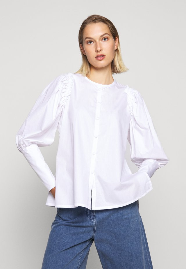 WITH BALLOON SLEEVE - Blouse - white