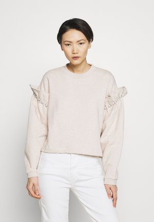 JUMPER WITH PEARL SHOULDER - Sweatshirt - oatmeal