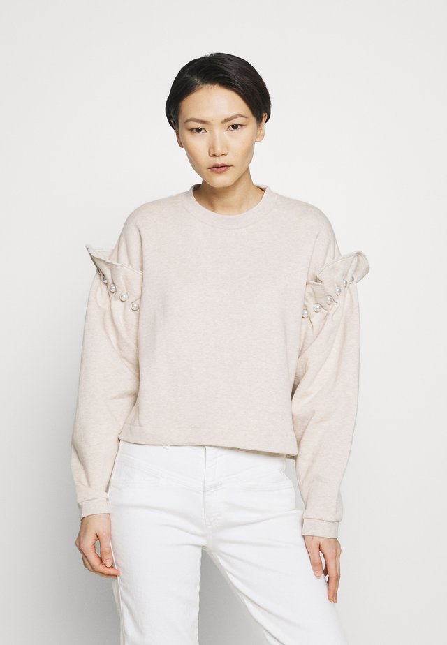 JUMPER WITH PEARL SHOULDER - Mikina - oatmeal