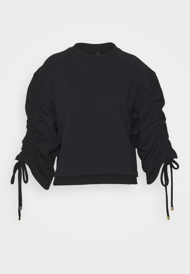 JUMPER WITH GATHERED SLEEVE AND CORD DETAIL - Sweatshirt - black