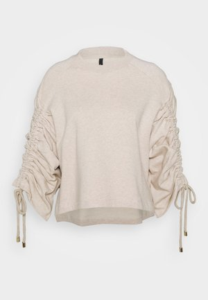 JUMPER WITH GATHERED SLEEVE - Felpa - oatmeal