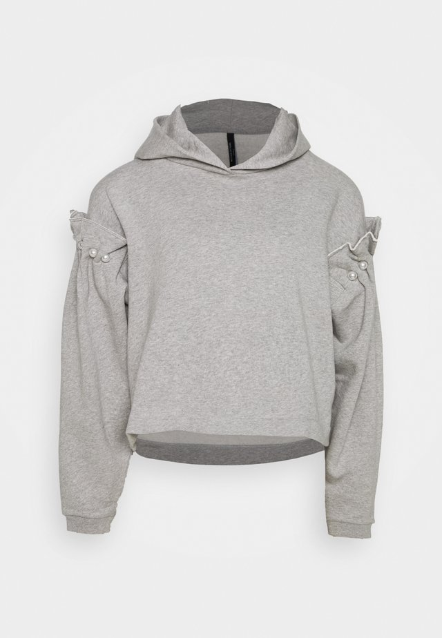 HOODY WITH PEARL SLEEVE - Luvtröja - grey