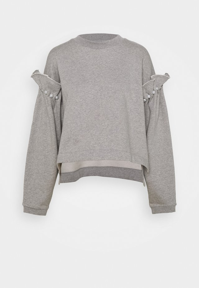 CROPPED JUMPER WITH PEARL SHOULDER - Sweatshirt - grey
