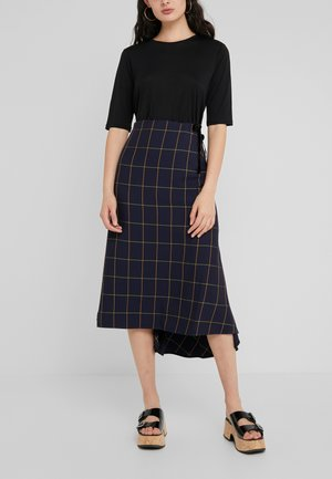 FLUTED MIDI SKIRT - A-line skjørt -  intense navy