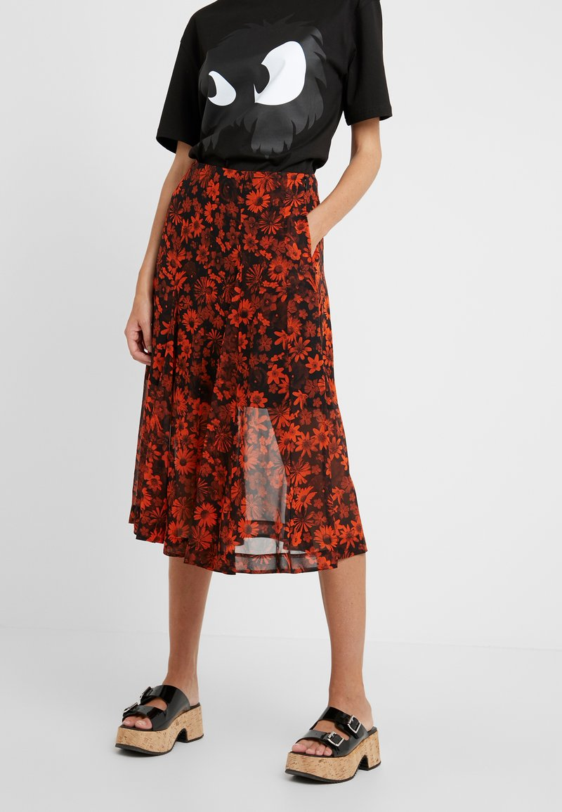 McQ Alexander McQueen - SEAMED GODET SKIRT - A-Linien-Rock - darkest black/orange
