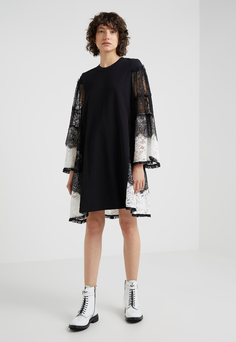 McQ Alexander McQueen - STRIPE DRESS - Day dress - black/ivory