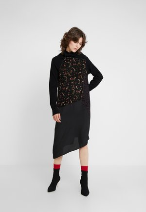 HYBRID DRESS - Strickkleid - darkest black