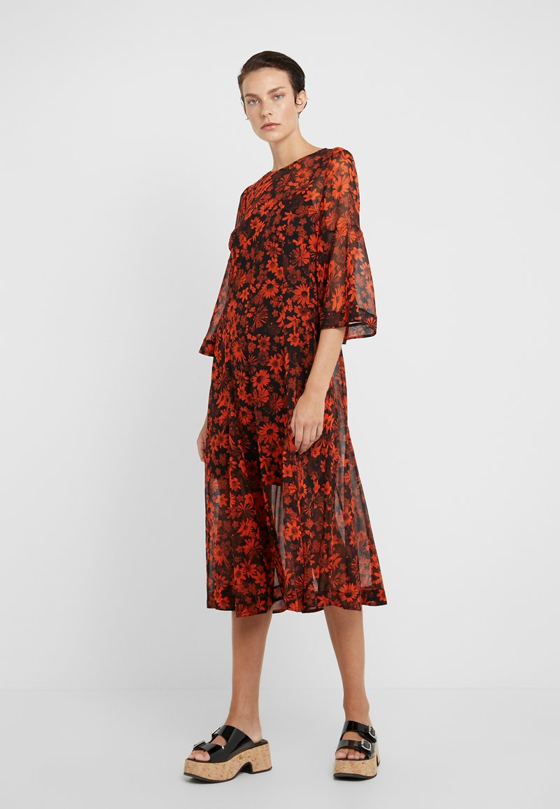 McQ Alexander McQueen - IRREGULAR GODET - Day dress - darkest black/orange