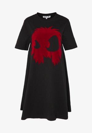 Jersey dress - darkest black/rouge