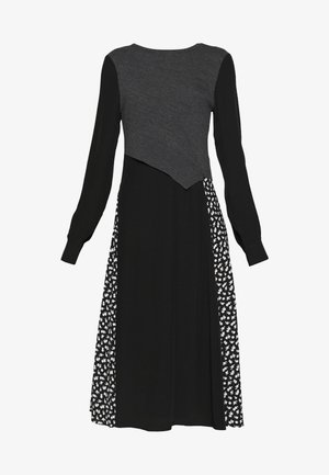 KNIT HYBRID DRESS - Denní šaty - black