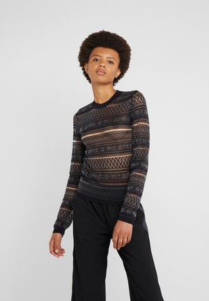 SHEER GEO CREW - Pullover - darkest black