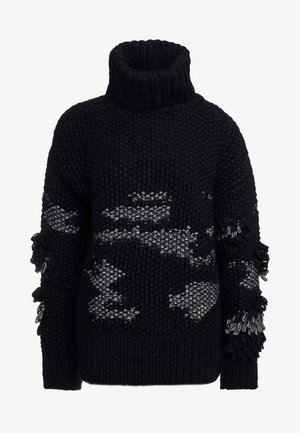CROCHET TASSEL CREW - Svetr - darkest black
