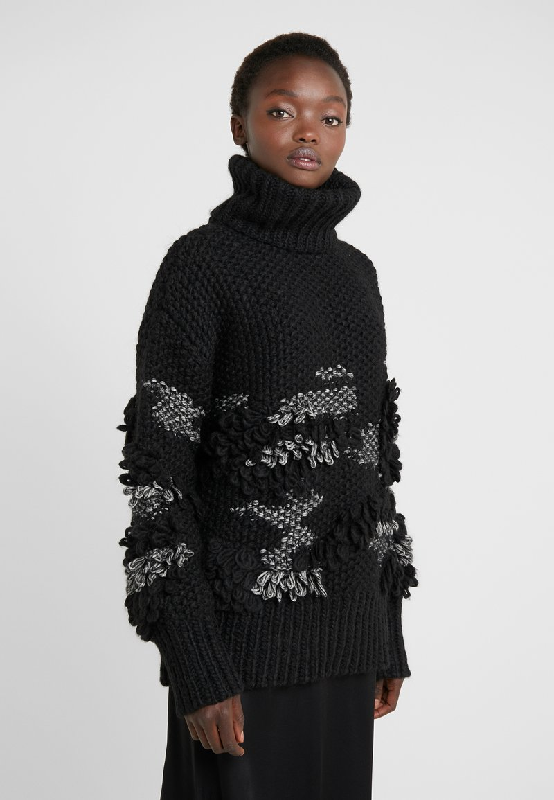 McQ Alexander McQueen - CROCHET TASSEL CREW - Jumper - darkest black