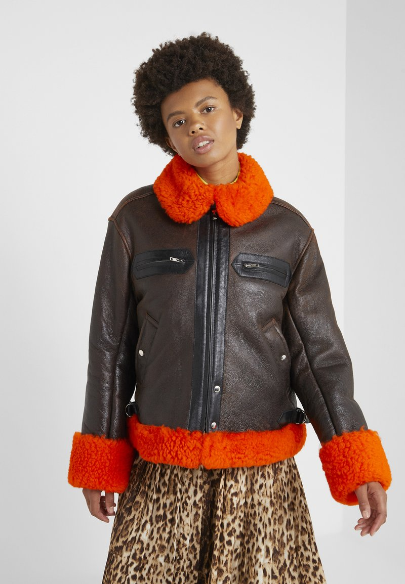 McQ Alexander McQueen - CROPPED FLIGHT  - Leren jas - orange/black