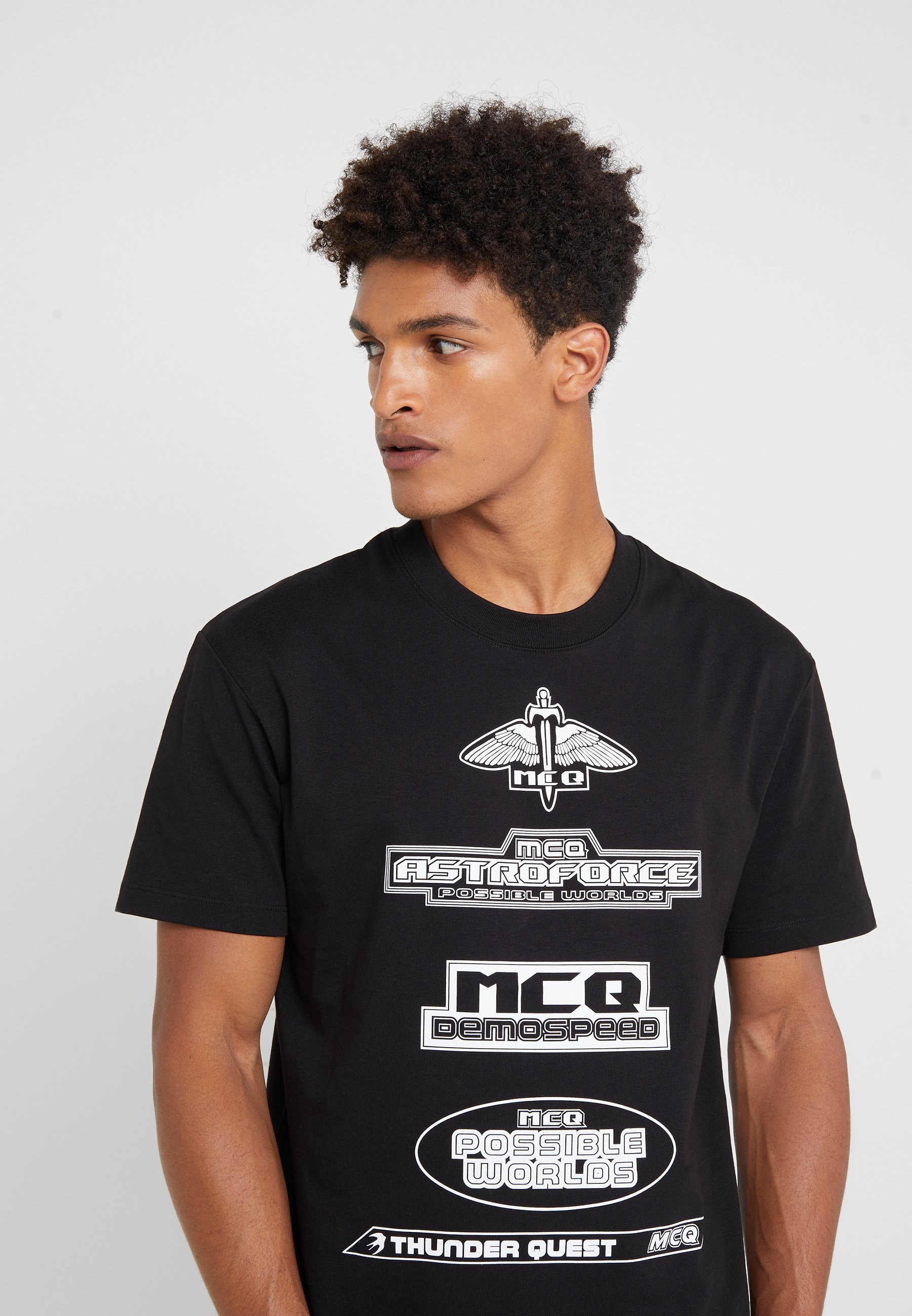 Con Stampa Mcq Alexander Darkest shirt TeeT Black Mcqueen Dropped Shoulder 8nP0wOk