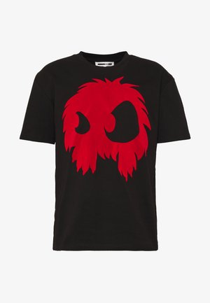 MONSTER DROPPED SHOULDER  - T-shirts print - darkest black/rouge