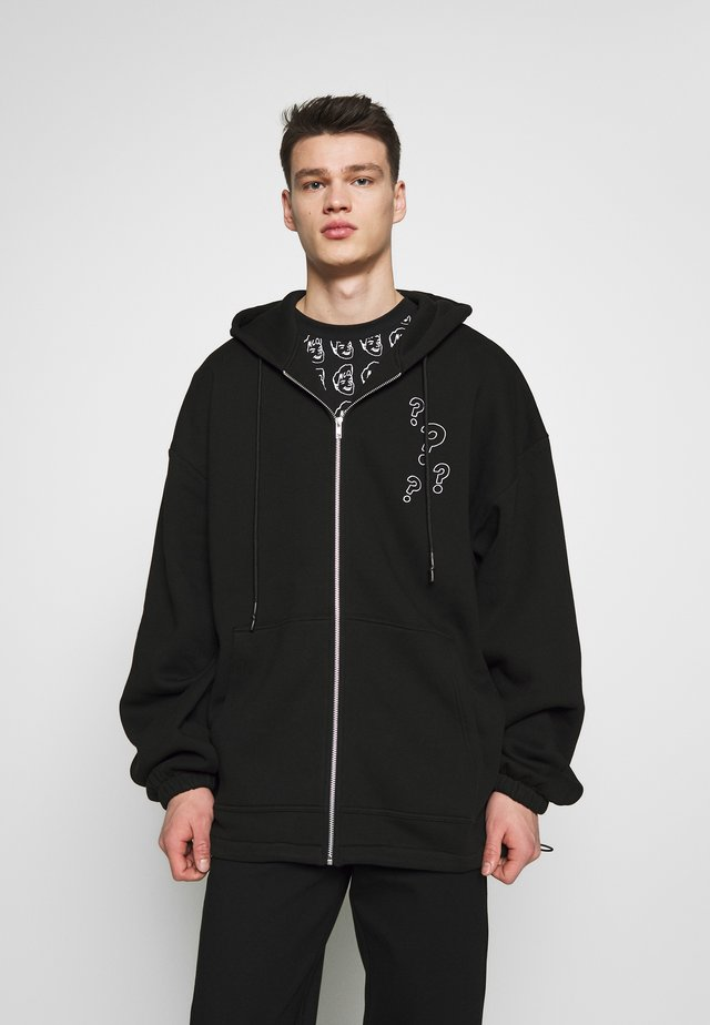 BIG DRAW ZIP HOOD - Collegetakki - darkest black