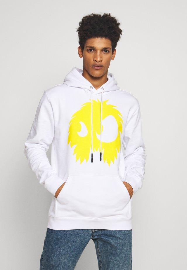 MONSTER HOODIE - Hoodie - white/yellow