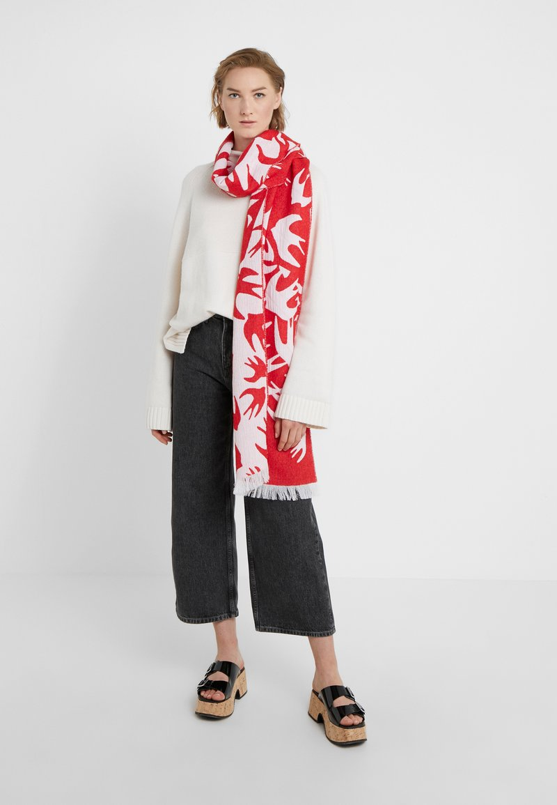 Cut ScarfÉcharpe red Up Mcqueen Mcq White Swallow Alexander lF3TJK1c