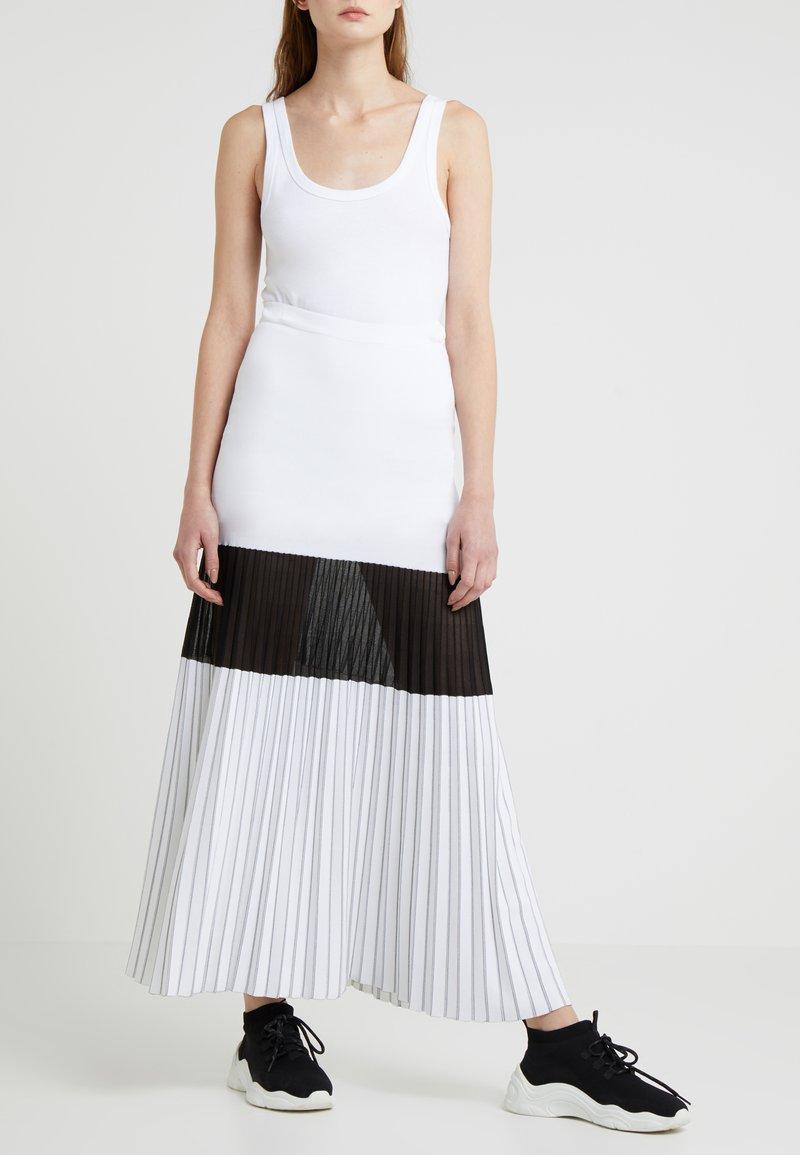 MRZ - GONNA INTARSIA - Długa spódnica - optical white