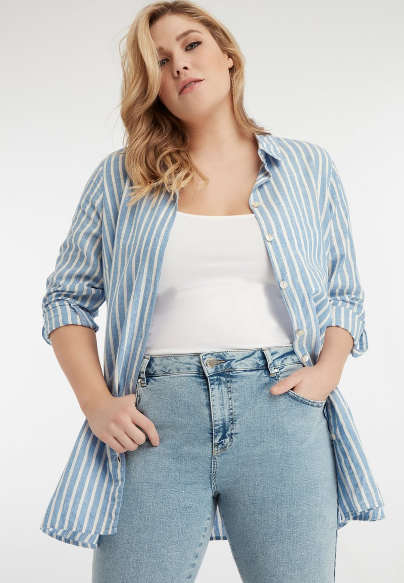 MS Mode - Button-down blouse - blue