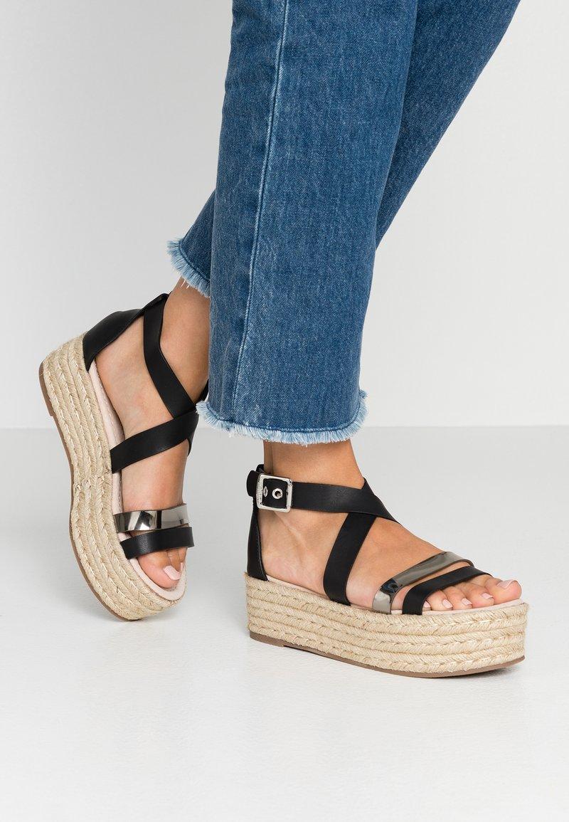 mtng - Platform sandals - black/glasse pewter