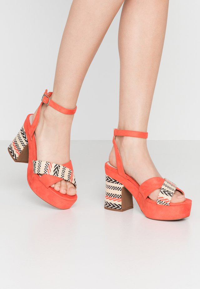 LEIRA - High heeled sandals - join coral