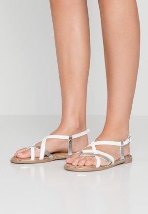 T-bar sandals - weiß/silber