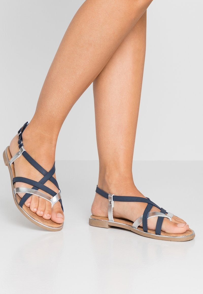 Mustang - T-bar sandals - blau/silber