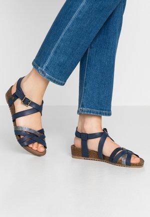 Sandaler m/ kilehæl - dunkelblau